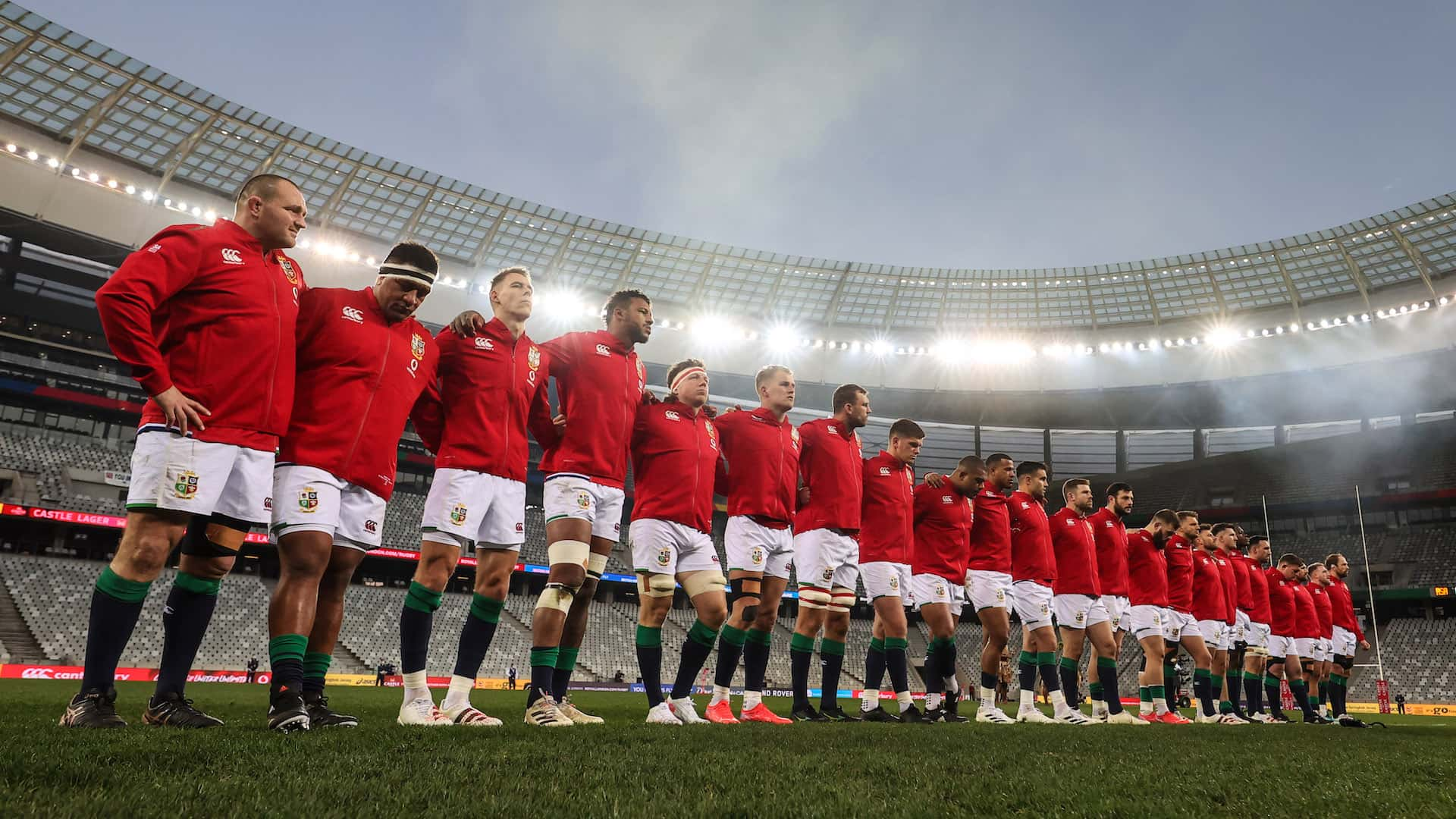 British and Irish Lion team line up for the National Anthem