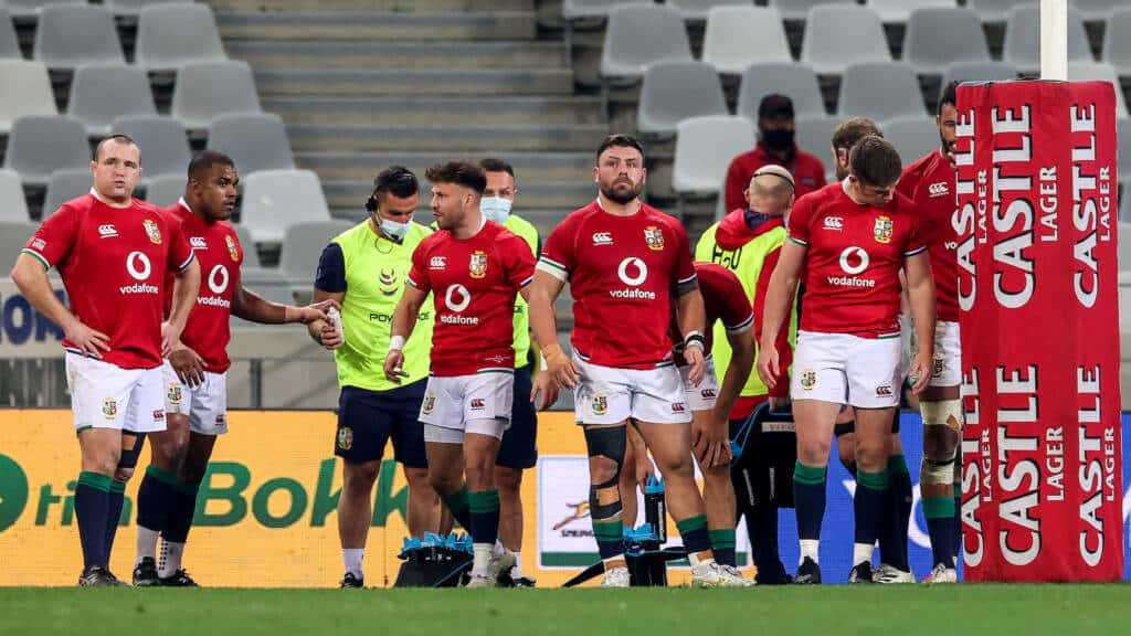 Ken Owens, Kyle Sinckler, Ali Price, Rory Sutherland and Owen Farrell dejected under the posts after a South Africa try
