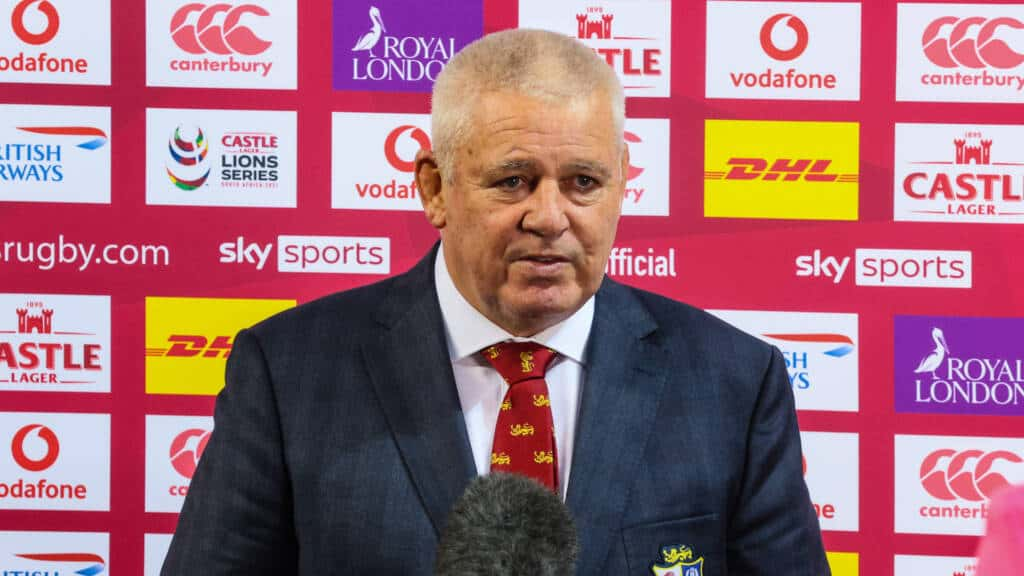 Warren Gatland with the media after the game