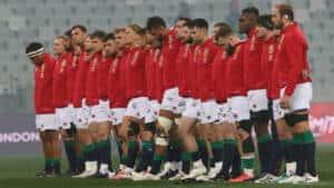 The British Irish Lions line up during the national anthem