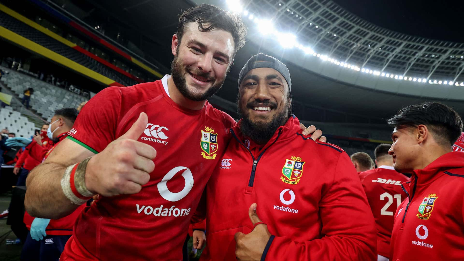 Robbie Henshaw celebrates after the game with Bundee Aki