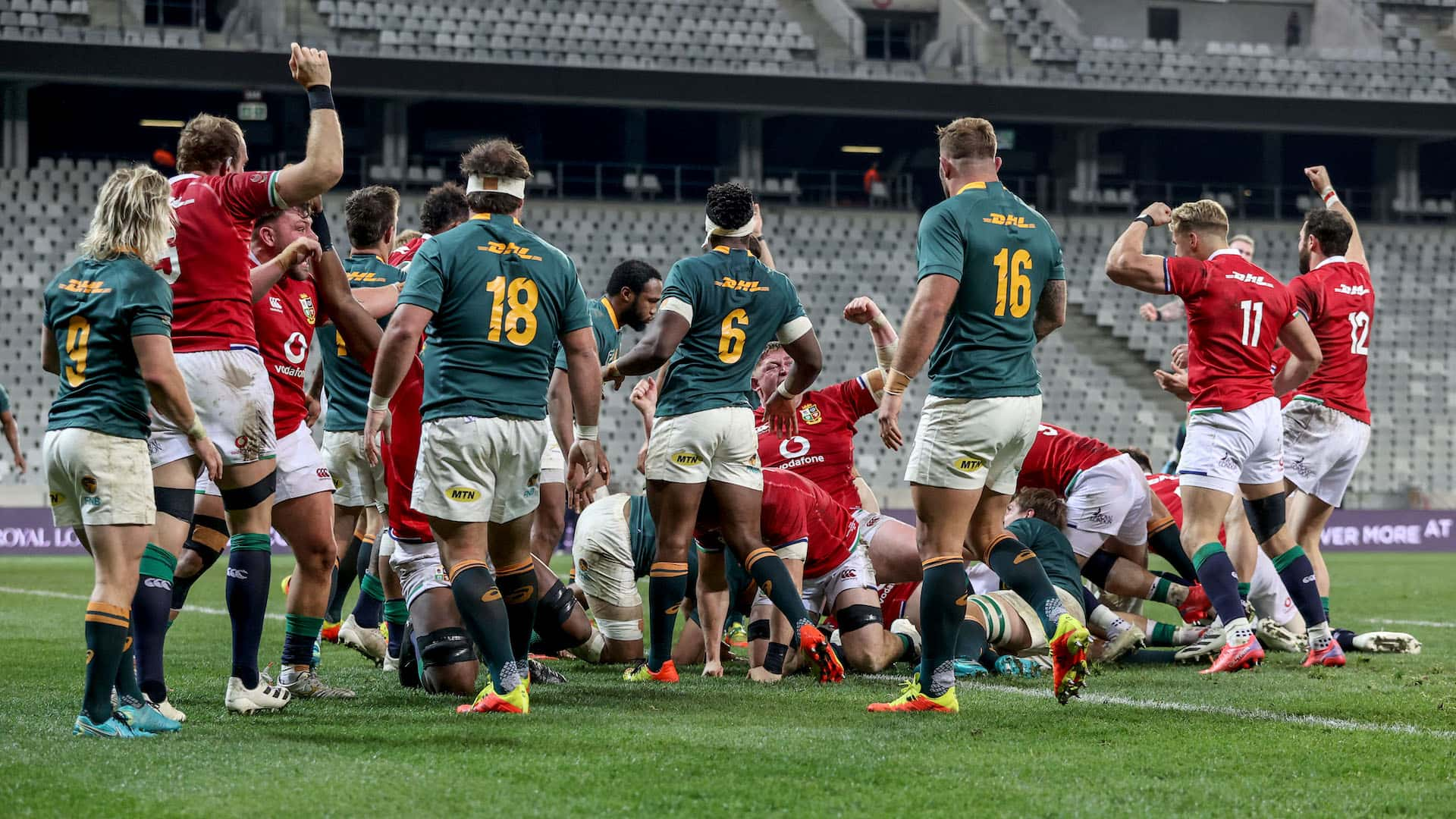 The British Irish Lions celebrate after Luke Cowan-Dickie scores a try from the maul