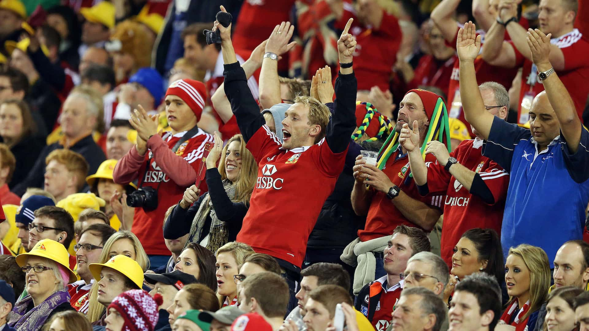 Lion's fans cheer on the team in australia 2013
